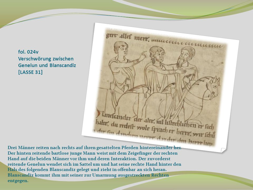 fol. 024v Verschwörung zwischen Genelun und Blanscandiz [LASSE 31]